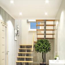 Модульная лестница Комфорт (с поворотом на 180° и площадками) шаг 180