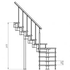 Модульная лестница Фаворит (с поворотом на 90° забежная) шаг 225