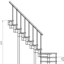 Модульная лестница Статус (c поворотом на 90° и площадкой) шаг 225