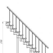 Модульная лестница  Стандарт (прямой марш) шаг 225